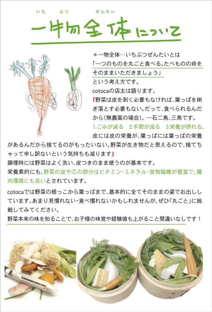 一物全体 一つのものを丸ごと たべものの命 野菜は皮を剥く必要がない 無農薬 ごみが減る 手間が減る 栄養が摂れる 皮には皮の栄養 葉っぱには葉っぱの栄養 もったいない MOTTAINAI 野菜は生き物 皮つき 野菜の皮 芯 ビタミン ミネラル 食物繊維 豊富 腸内環境 そのままの姿 丸ごと 野菜本来の味 味覚 経験値